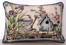 Flowers - Iris, Hollyhocks w/ Birhouse, Bird & Watering Can  Tapestry Pillow