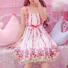 2018 Mori Girl Lolita Preppy Style Sweet Strawberry High Waist Slip Dress