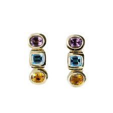 Vintage Retro 14k Yellow Gold Multicolor Earrings Amethyst Citrine Blue Topaz