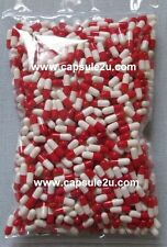 500 EMPTY CAPSULE GELATIN PILL REFILLING POWDER HERB SIZE 4 WHITE-RED COLOR