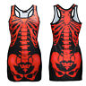 New Black & Red X-Ray Skeleton Ribcage Bones Long Tank Top Goth Punk Halloween