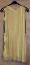 KHUJO * Plissee-Kleid Gr.M * beige grün Hängerchen weit verspielt * Clain * Neu
