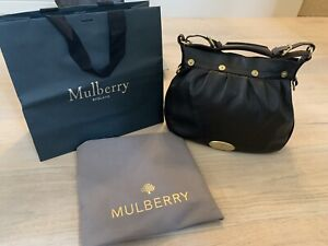 Mulberry Black Leather Mitzy Hobo Bag Genuine