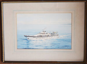 Littlewood, Brian Signed & Dated 1979 Watercolour of Colonel Gadaffi's Yacht