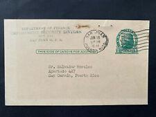 Puerto Rico 1951, San Juan Domestic Postal Card to Salvador Morales San German