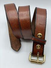 "Men's Handmade 1.5"" Heavy Duty Brown Leather Gun Holster Work Belt Size 42 USA"