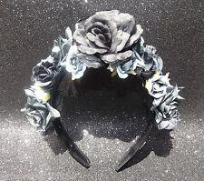 Black Rose Flower Crown Garland Headband Goth Floral Festival Hippy Bridal Boho