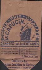 France, publicité Sac CONFITURERIE DU OEN Cordeliers de Bordeaux Capucin