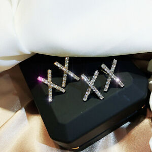 S925 Silver Korean Crystal Stud Earrings X Cross Geometric Ziron Crystal Earring