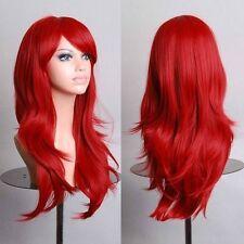 Beau rouge légèrement bouclés longue perruquewig+Hairnet