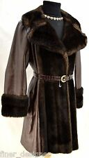 LILLI ANN BROWN FAUX FUR LEATHER London PRINCESS COAT knee Jacket trench S M VTG