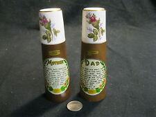 Vintage Wood Column Mother Dad Porcelain Rose Bud Salt and Pepper Shaker      60