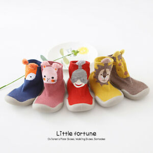Baby Girls Boys Toddler Anti-slip Slippers Socks Cotton Shoes Winter Warm UK