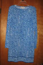 Michael Kors Blue & White Geometric Shift Dress size M