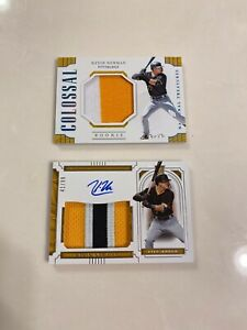 2019 National Treasures Kevin Newman RC Lot: 1/1 Colossal Patch 41/99 Patch Auto