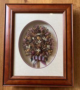 Vintage Framed Dried Flower Arrangement Ruth Skorik Cottage Rose Wall Art