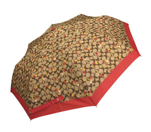 Coach Khaki Signature Red Cherry Compact Umbrella 35489 NWT