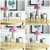 Marmor Eisen Pflanze Vase Stand Garten Pflanzer Halter Keramik Blumentopf Regal