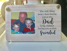 Personalised Wooden Sign Plaque Dad Grandad Fathers Day Photo Gift