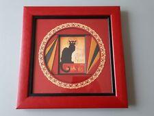 """carte encadrée """" Tournée du chat noir """" dans tableau"""