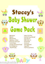 FULL Game Pack on CD | Owl Theme | Personalised Baby Shower Games | Favour Tags