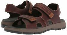 Men's Shoes Clarks BRIXBY SHORE Fisherman Active Leather Sandals 31549 DK BROWN