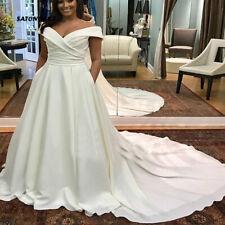 Off Shoulder Plus Size Wedding Dresses V-neck Pleats Satin Bridal Gowns Chapel