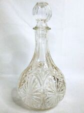 "Vintage Glass Decanter with Stopper - 8"" Tall - Wine Liquor Etched Barware Mcm"