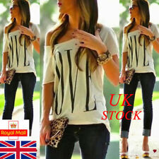 UK Womens Off Shoulder Summer Blouse Casual Ladies Tee Shirt New Tops Plus Size