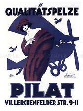 Publicidad Prendas De Vestir De Moda Estilo Piel Piel Pilat Alemania avión Cartel lv628