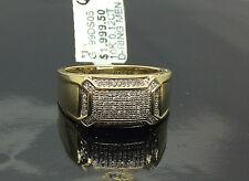 10K Men's Yellow Gold  0.12CT Diamond Pave Ring / Pinky Ring