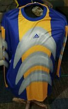 Vintage 90's Adidas Men Yellow, Blue, Silver Goalkeeper Jersey Shirt X-Large Xl