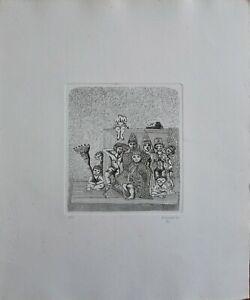 """Francesco Musante acquaforte 1975   """"il Re""""  50x35 firmata numerata"""