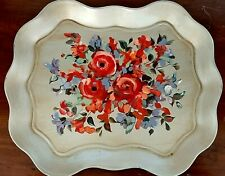 Metal Tray Toleware Vintage Platter with Flowers  Antiques Hand Painted