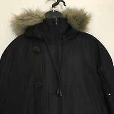 Lane Bryant Jacket 18 20 Black Faux Fur Trim Fleece Lined Hood Winter