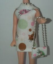 Topper Dawn Doll Cat Faces Mini Dress & Bag Item 139