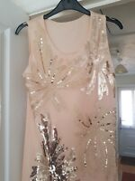 Stunning Peachy Beige Sleeveless Dress, Fully Lined, Knee Length Size 10/12, VGC