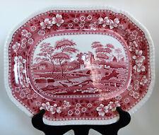 """Copeland Spode Pink Tower Old Mark 1920 - 50 14.5"""" Porcelain Platter"""