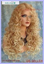 LACE FRONT LONG CURLEY WIG BLONDE T27.613 GORGEOUS SEXY NEW STYLE USA SELLER 222