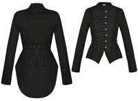 Womens Black Steampunk Emo MCR Punk Gothic Military Parade Goth Tail Coat Jacket