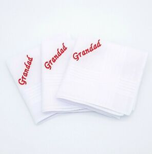 Men's Personalised Handkerchief Embroidered Hanky Grandad Dad Any Name Gift