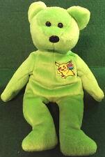 "POKEMON Birthday ""PIKACHU"" 2000 Lime Green TEDDY BEAR Bean Bag Plush Toy 8"" GO!"