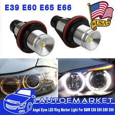 2X 7000K 10W ANGEL EYES LED HALO Ring Marker Light For BMW E39 E53 E60 E61 USA