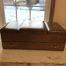"""Vintage 3 Tier Jewelry Box 14"""" x 8"""" x 5"""" drawer and large mirror"""