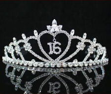 FASHION WEDDING SWEET SIXTEEN 16 TIARA CROWN RHINESTONE WITH COMBS PARTY PAGEANT
