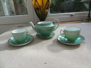 Art Deco china stylised tea set for two pot/cups/saucers/ green Phoenix china