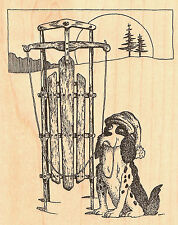 Christmas Dog With Sled Wood Mounted Rubber Stamp Impression Obsession NEW