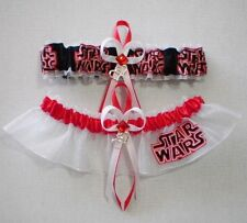 Star Wars Fabric Red Jewel Wedding Bridal Garter Set Prom Double Heart Charm