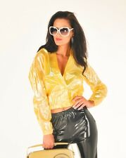NEW TOP QUALITY PVC BOMBER JACKET COAT CROPPED RAINCOAT CLEAR YELLOW LARGE