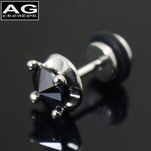 A single round black stone fake plug earring stud piercing 18g US SELLER